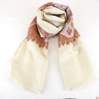 カシミヤ 手織り ショール|ボーダー刺繍 手刺繍 パシュミナ|生地:オフホワイト|刺繍糸(10色)