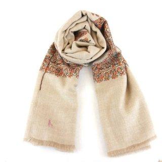 カシミヤ 手織り ショール|ボーダー刺繍 手刺繍 パシュミナ|生地:ネイチャーカラー|刺繍糸(9色)