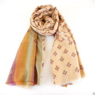 カシミヤ 手織り ショール|ストライプ柄 ジャアリ/ブティ刺繍 手刺繍 パシュミナ|生地:マルチカラー|刺繍糸(8色)