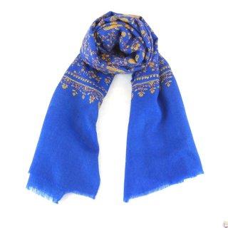 カシミヤ 手織り ストール|ジャアリ刺繍 手刺繍 パシュミナ|生地:ターコイズブルー|刺繍糸(4色):黄土色/茶色/黄緑色/ピンク