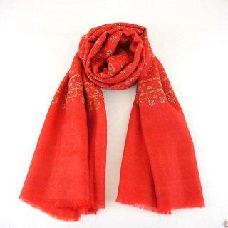 カシミヤ 手織り ストール|ジャアリ刺繍 手刺繍 パシュミナ|生地:ポピーレッド |刺繍糸(6色)