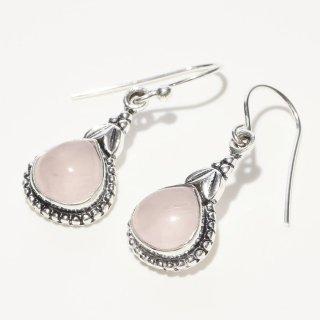 雫型ピンク カルセドニー SV925|天然石 フックピアス|ハンドメイド|Afghan Earring