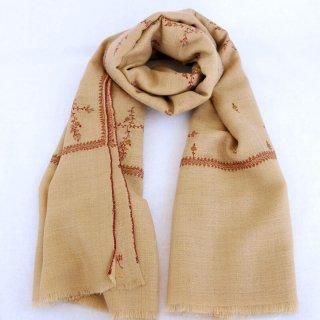 カシミヤ 手織り ショール|ソズニ刺繍 ジャマワール ブッティダール|手刺繍 パシュミナ|生地:ウッドブラウン|刺繍糸(5色)