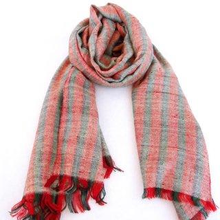 NOELLE|手織り カシミヤ/パシュミナ100%|ストール|ストライブ|レンガ色/グリーン