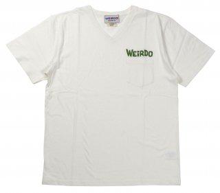 WEIRDO [-WEIRDO DAILY - S/S V-NECK T-SHIRTS- WHITE×GREEN size.S,M,L,XL]