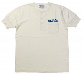 WEIRDO [-WEIRDO DAILY - S/S HENRY NECK T-SHIRTS- WHITE×BLUE size.S,M,L,XL]