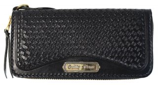GUILTY FLAME [-GF-LZIP1 ROUND ZIP BASKET LONG WALLET (PLATE TYPE)- BLACK]
