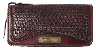 GUILTY FLAME [-GF-LZIP1 ROUND ZIP BASKET LONG WALLET (PLATE TYPE)- WINE]