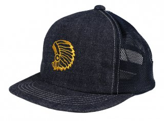 TROPHY CLOTHING [-DIRT DENIM CHIEF TRACKER CAP- Indigo×Ivory]