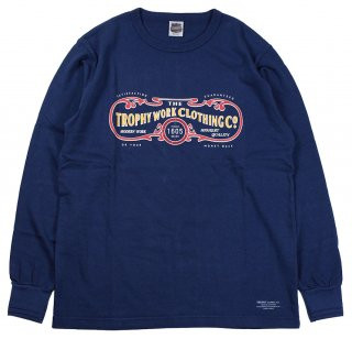 TROPHY CLOTHING [-15TH WORK LOGO OD L/S TEE- Indigo size.36,38,40,42]