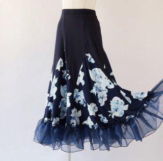 ネイビー ローズ柄ロングスカート