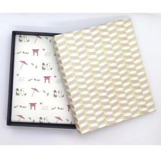 懐紙10枚と箱のセット (懐紙:狐の嫁入り、箱:クロス)
