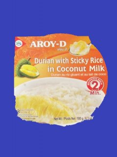 DURIAN WITH STICKY RICE IN COCONUT MILK AROY-D カオニオナームガティトゥーリアン アロイD 180g