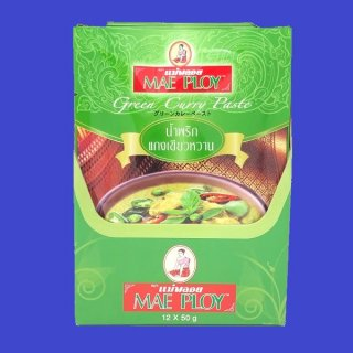 GREEN CURRY PASTE (PACK) (MAE PLOY)グリーンカレーペースト ゲーンキヨワーン メープロイ 10x50g×12個 CASE