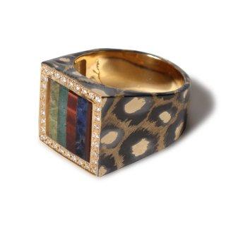 Mariangela ring K18 [tiger's eye, sodalite, aventurine quartz, carnelian, onyx]