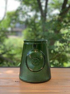 JARRON MANDALA 19cm ガラス花瓶 グリーン