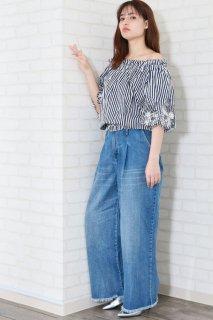 Wide stripe off shoulder blouse