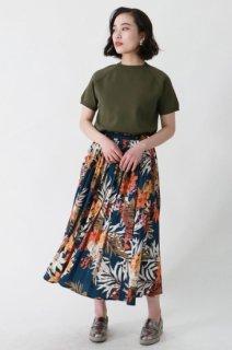 Floral pleats long skirt