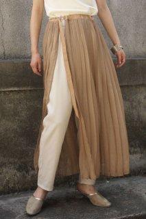 Sheer pleats wrap skirt