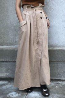 Wrap flare long skirt