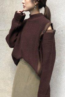 Asymmetric shoulder slit knit
