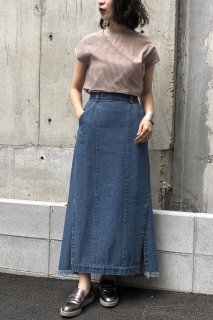 Denim side slit skirt