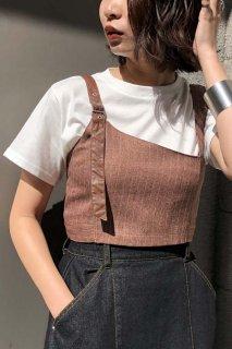 Stripe x Leather Bustier Set T-shirt