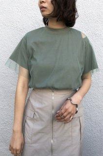 Slit tulle layered T-shirt