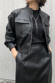 Leather short blouson