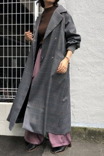 Check long trench coat