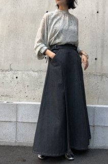 Side belt denim skirt