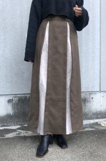 Pleats layered long skirt