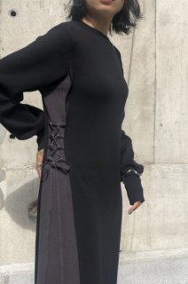 Side lace-up knit dress