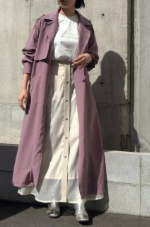 Linen-like long coat