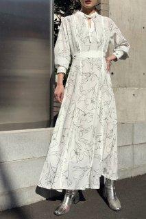 Line flower print dress