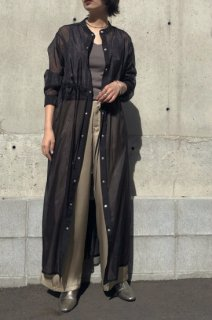 High neck sheer shirt dress
