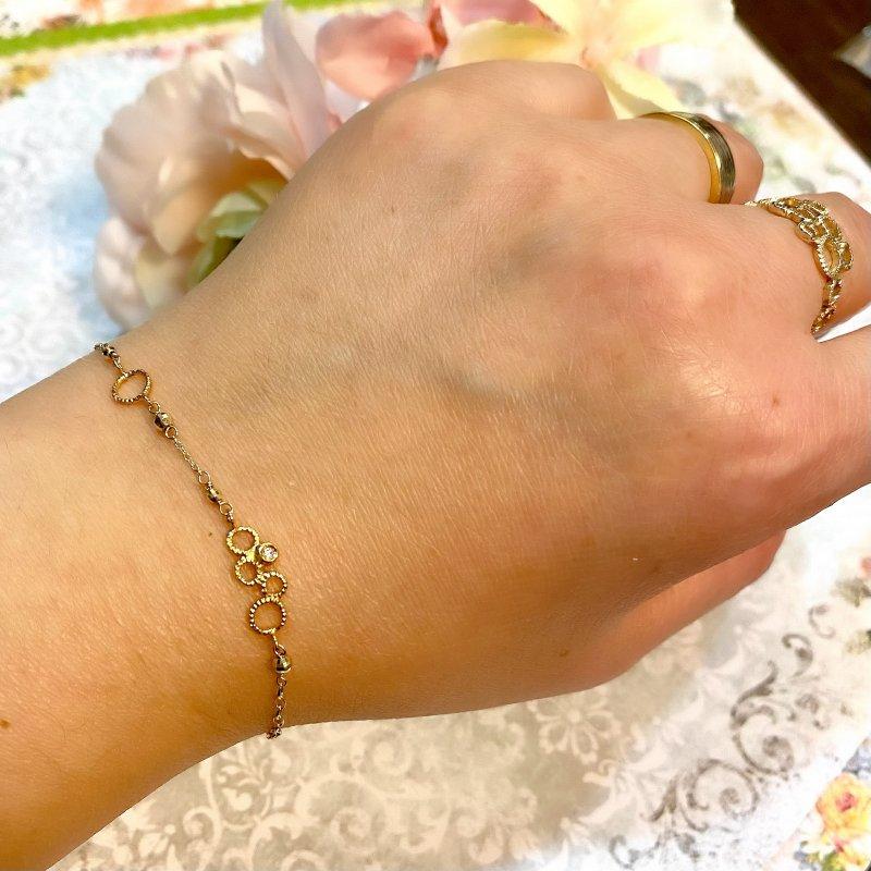 K10ベイリービーズ・ダイヤモンドブレスレット【現品限り価格20%〜OFF】
