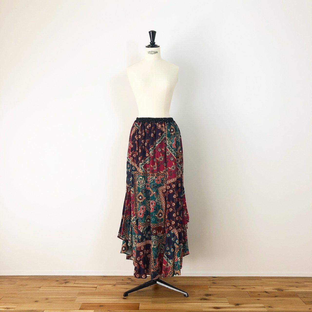 Scarf print long skirt<BR>purple multi