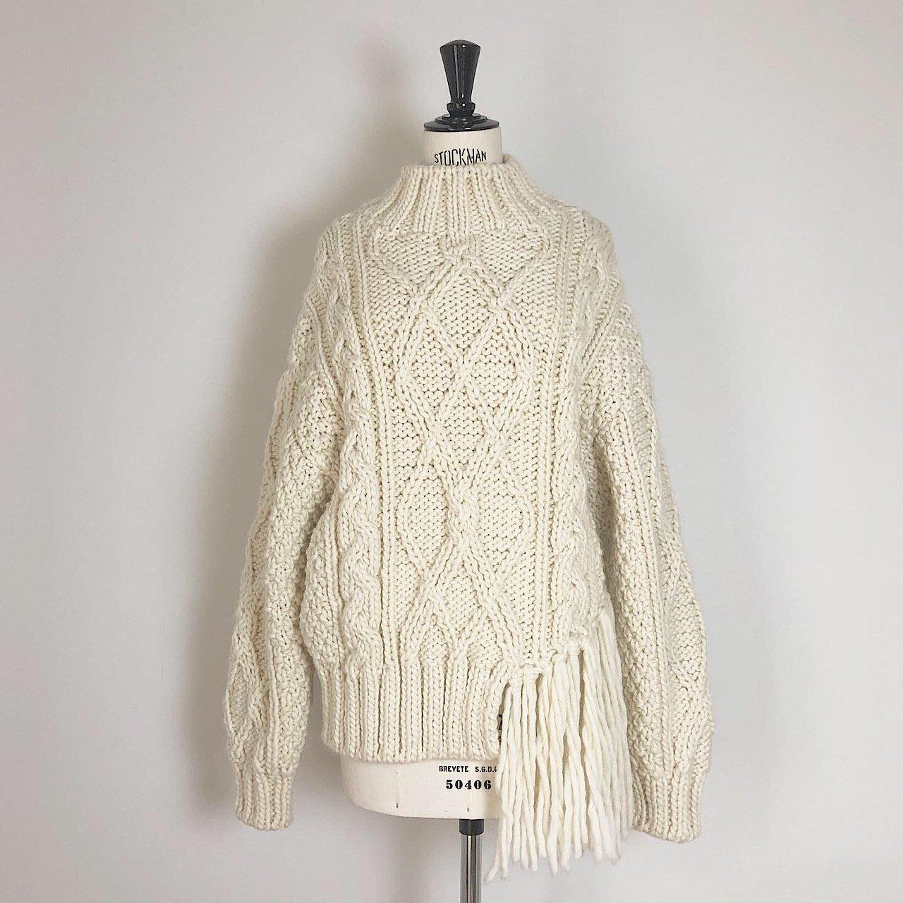 pelleq<BR>hand knitted alan jumper<BR>snow