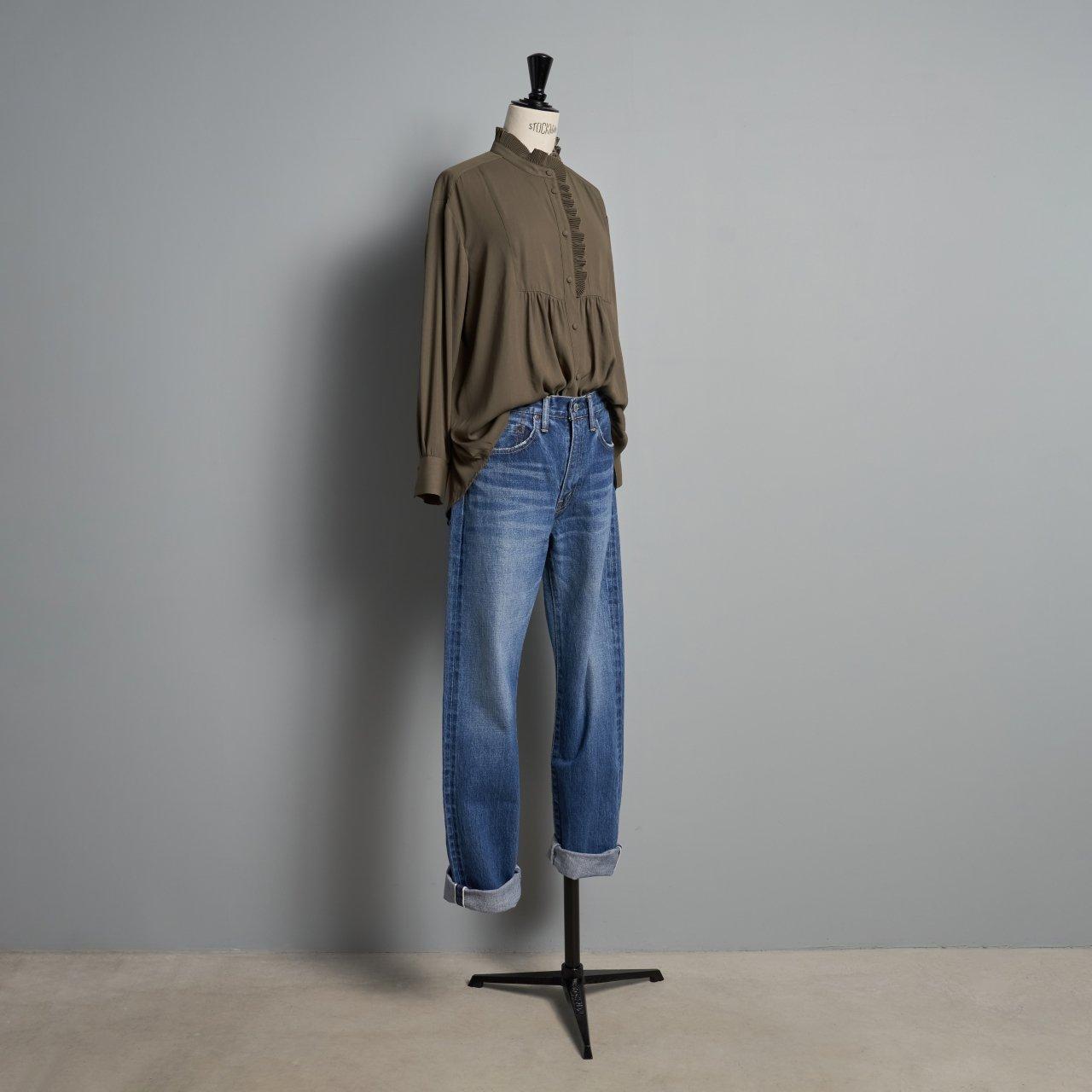 PaleJute<BR>Pleated blouse sophie<BR>military khaki
