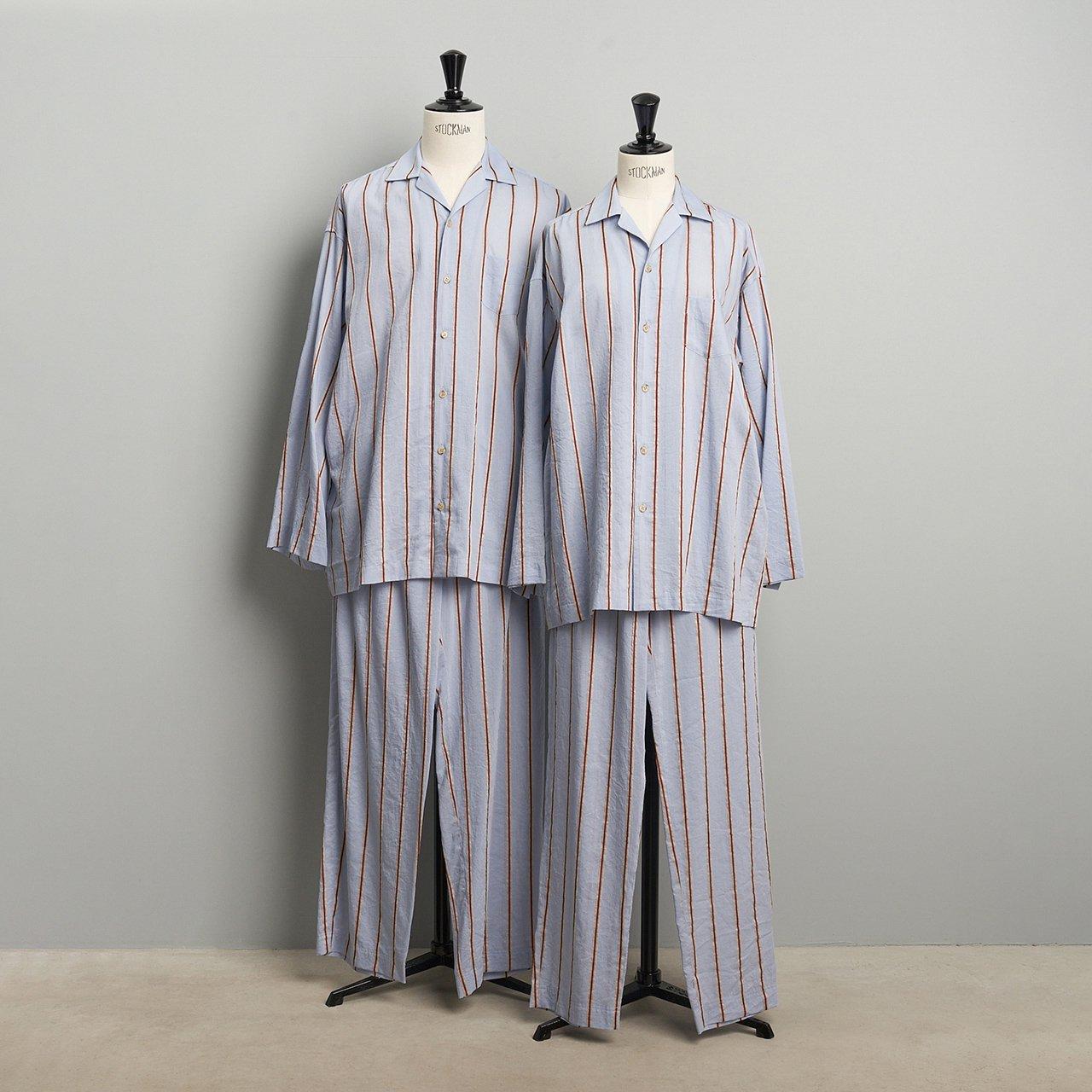 PaleJute<BR>Relax shirt & pants<BR>SAX STRIPE