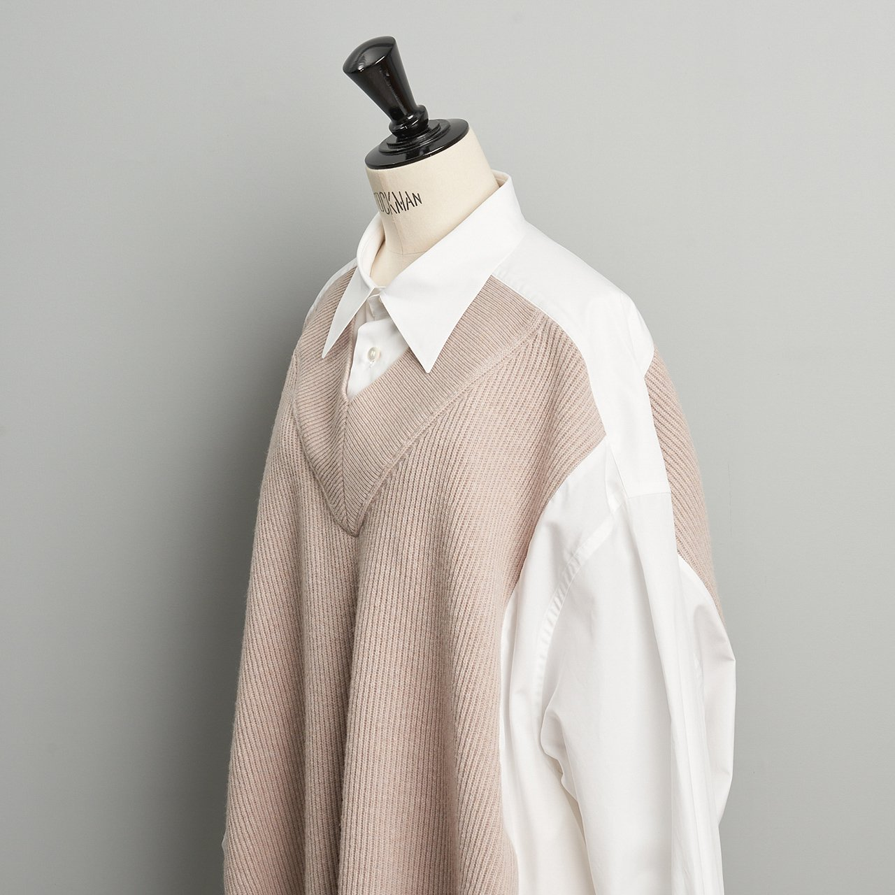 Maison Margiela PARIS <BR>ニットコンビシャツ<BR>BEIGE
