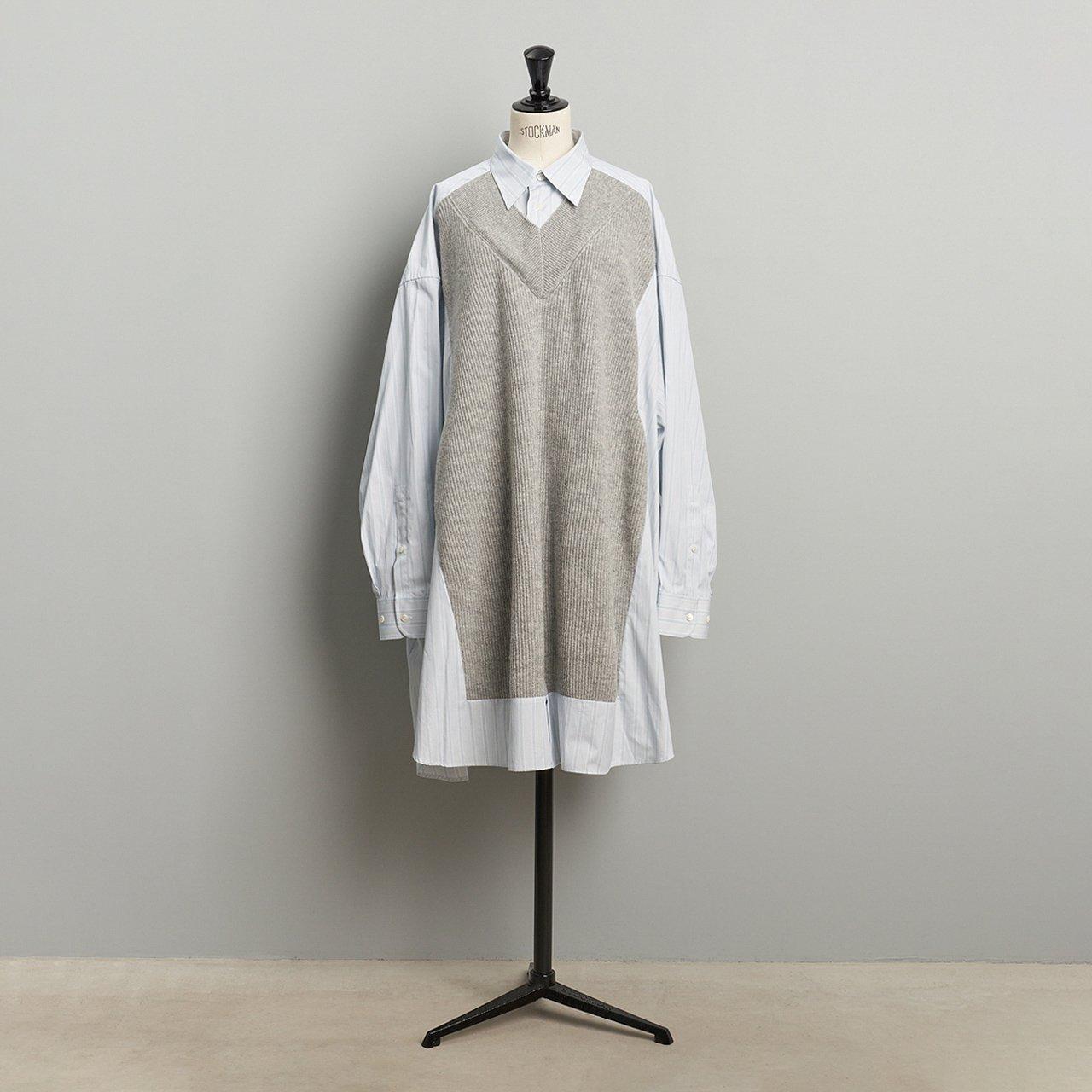 Maison Margiela PARIS <BR>ニットコンビシャツ<BR>GRAY
