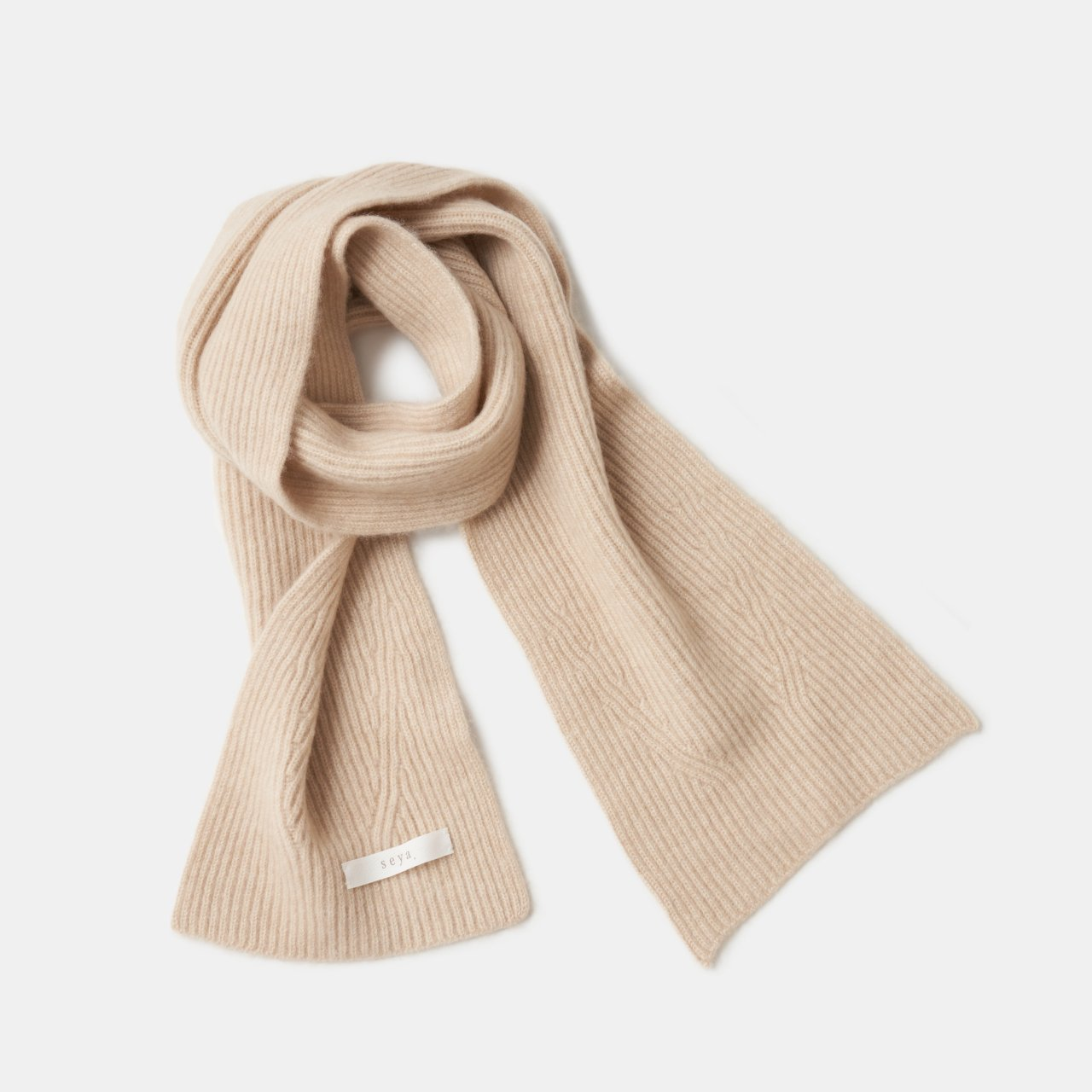 seya.<BR>Cashmere double ribbed knit <BR>Natural