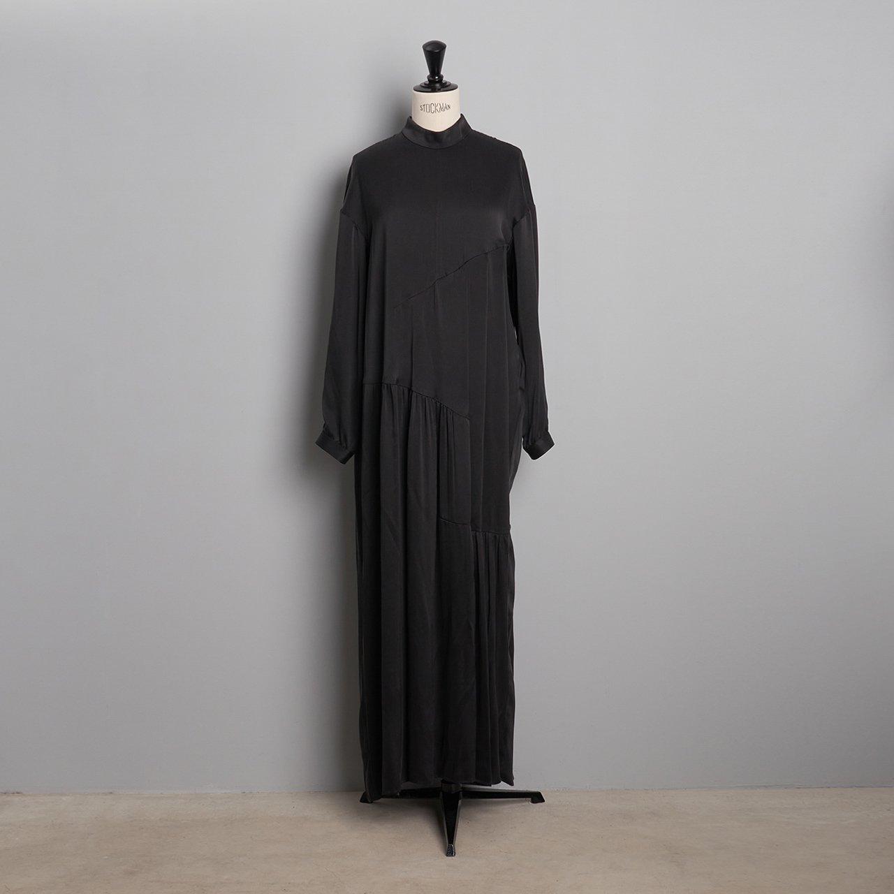 pelleq<BR>step gather long dress<BR>deep night