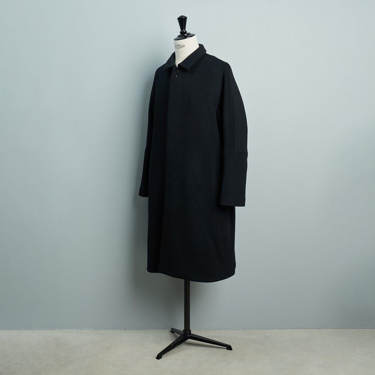 suzuki takayuki <BR>men's <BR> stand-fall-collar coat �<BR>black