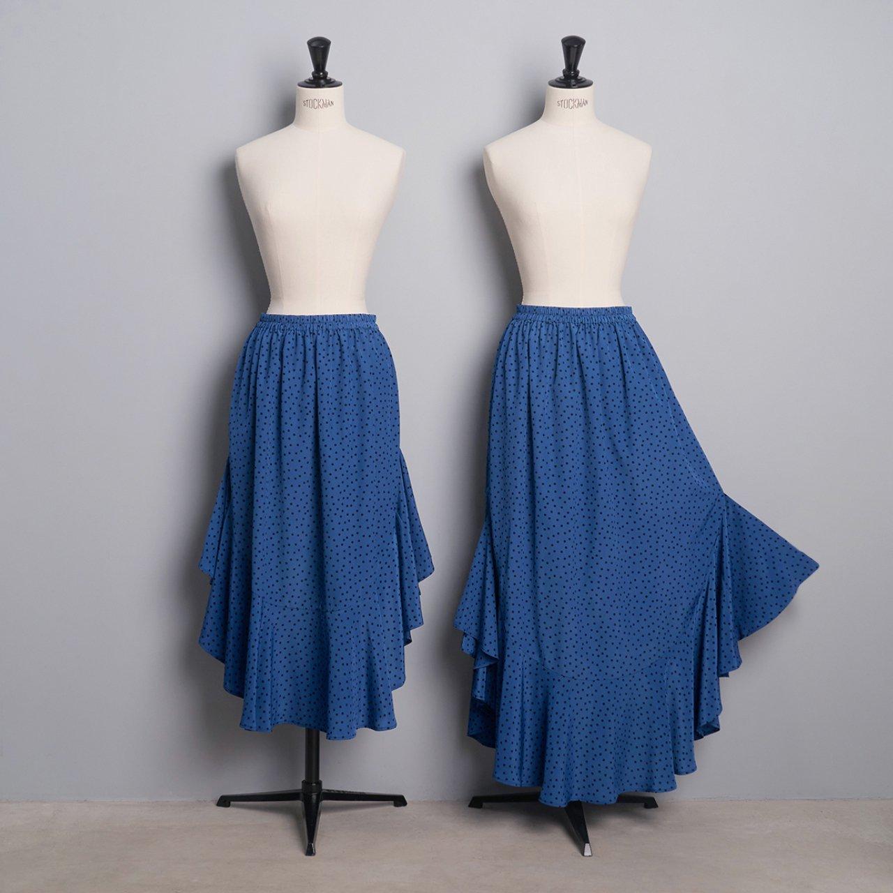 Pale Jute <BR>polka dot skirt「Circus Night」<BR>blue × black