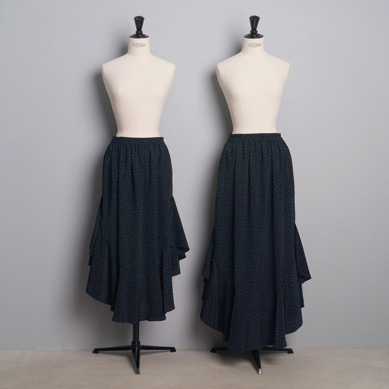 Pale Jute <BR>polka dot skirt「Circus Night」<BR>navy × green
