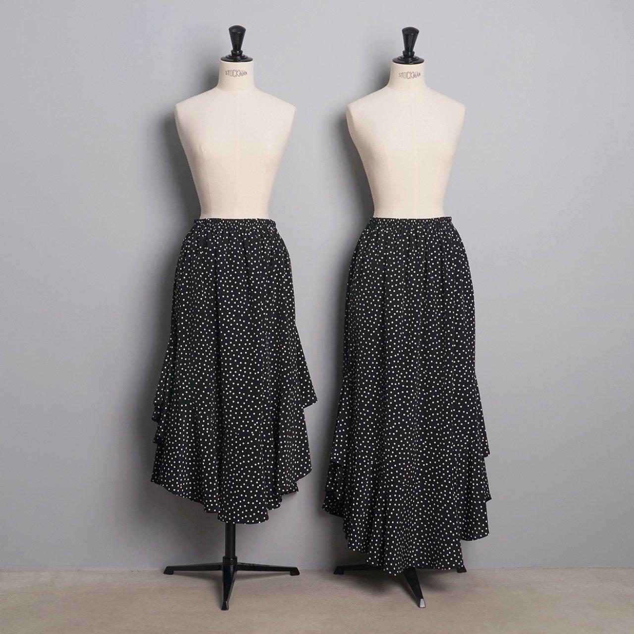 Pale Jute <BR>polka dot skirt「Circus Night」<BR>black × white