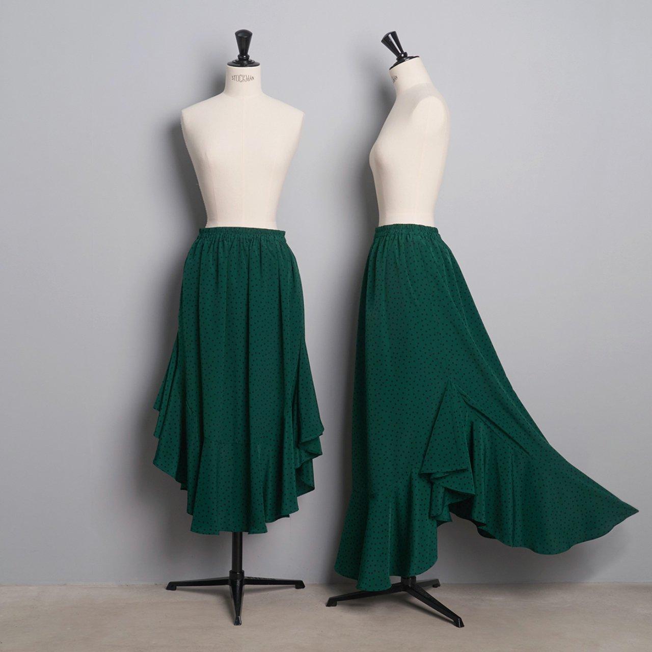 Pale Jute <BR>polka dot skirt「Circus Night」<BR>green × black